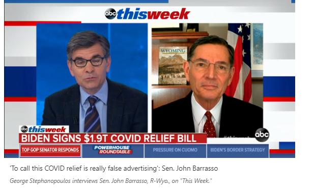 Thượng nghị sĩ John Barrasso (Cộng Hòa, Wyo.) nói luật cứu dịch 1.9 ngàn tỷ là quảng cáo sai lạc, đúng không?
