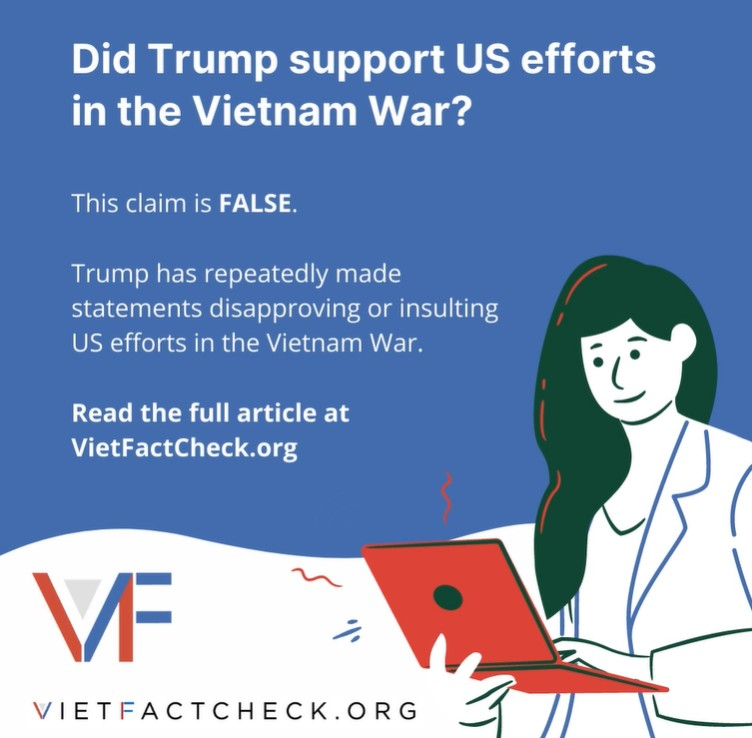 Donald Trump có ủng hộ nỗ lực của Hoa Kỳ trong Chiến tranh Việt Nam? VietFactCheck nói không.
